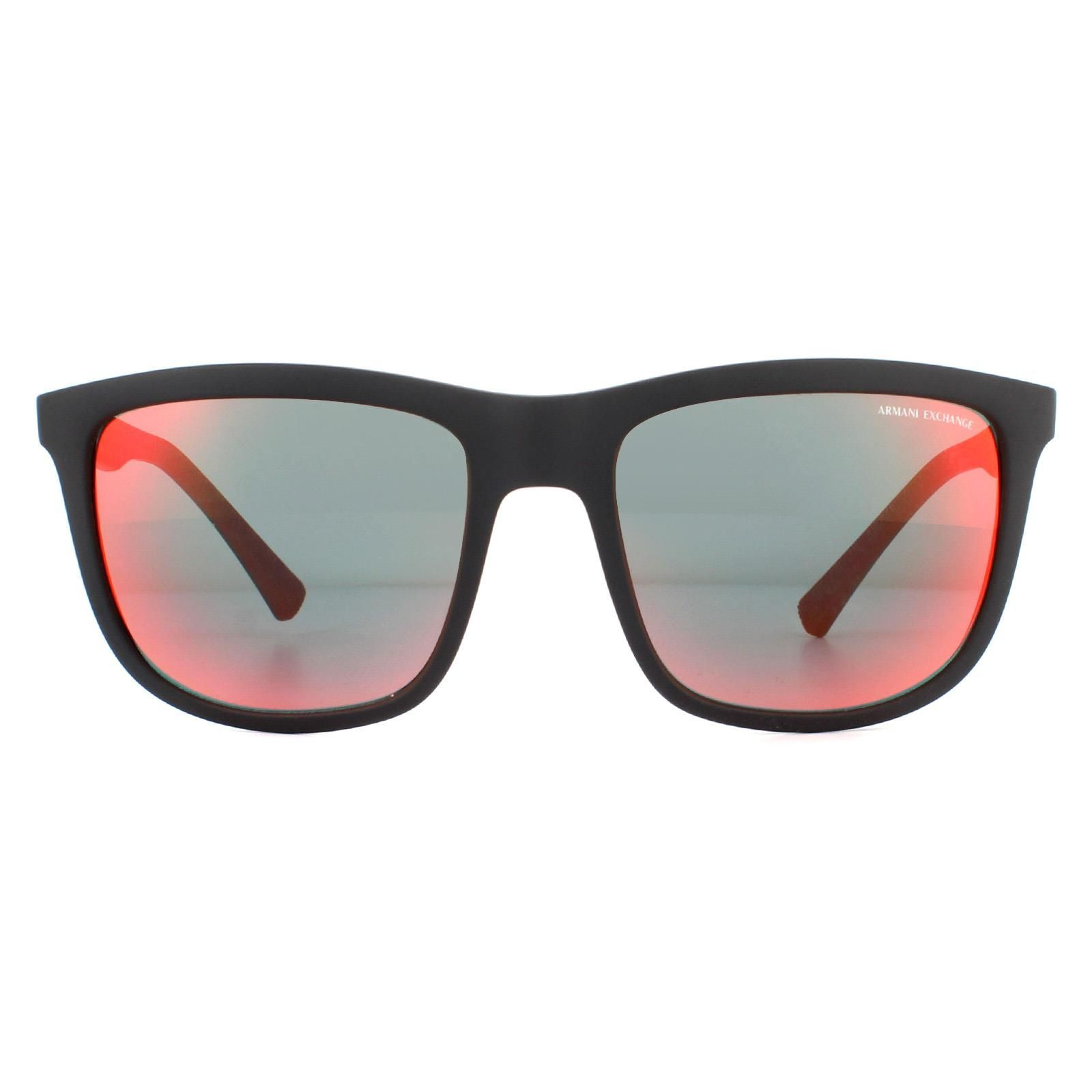 Armani Exchange Sunglasses AX4093S 80786Q Matte Black Grey Orange Yellow Mirror