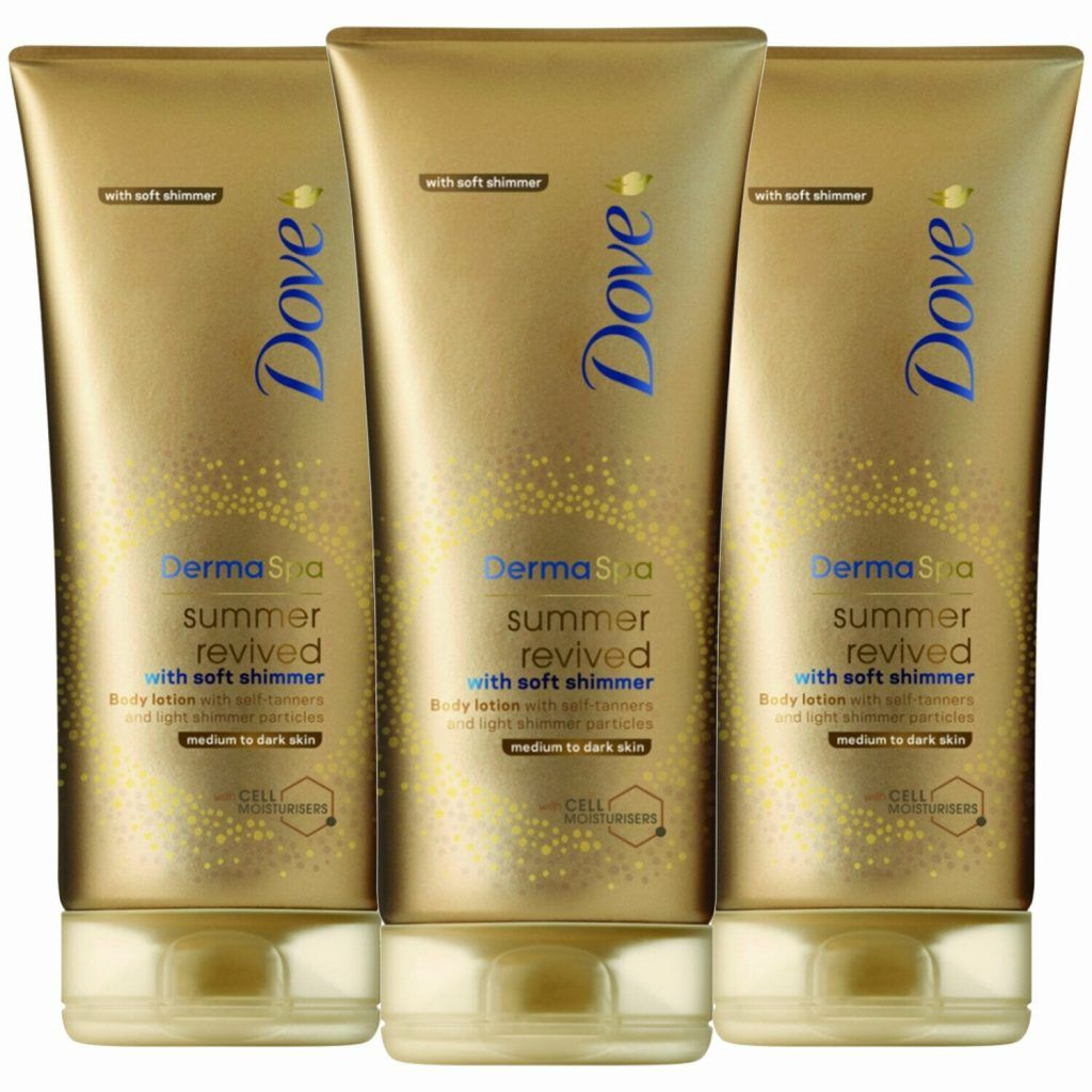 Dove DermaSpa Summer Revived Gradual Self Tan Body Lotion With Soft Shimmer Medium To Dark Skin 3 x 200ml