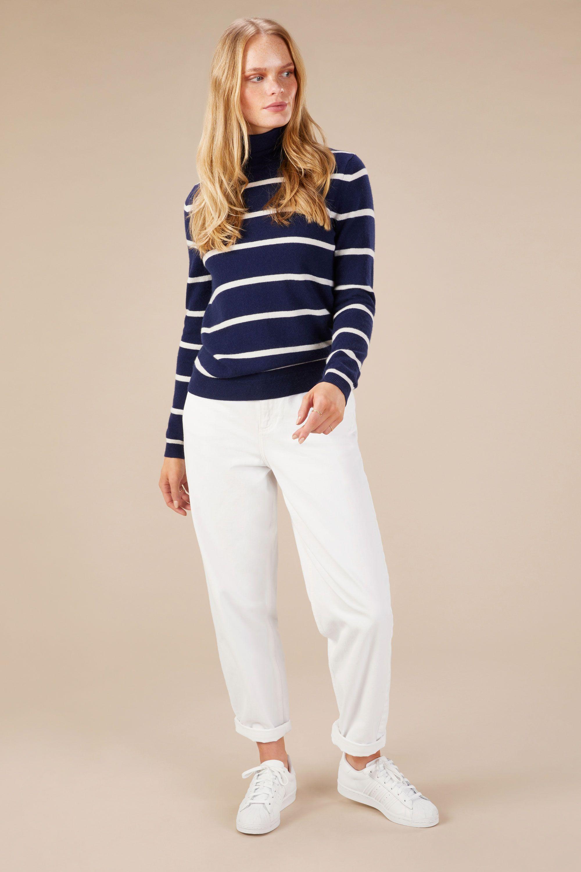 Cashmere Polo Neck Sweater in Midnight/Snow Stripe