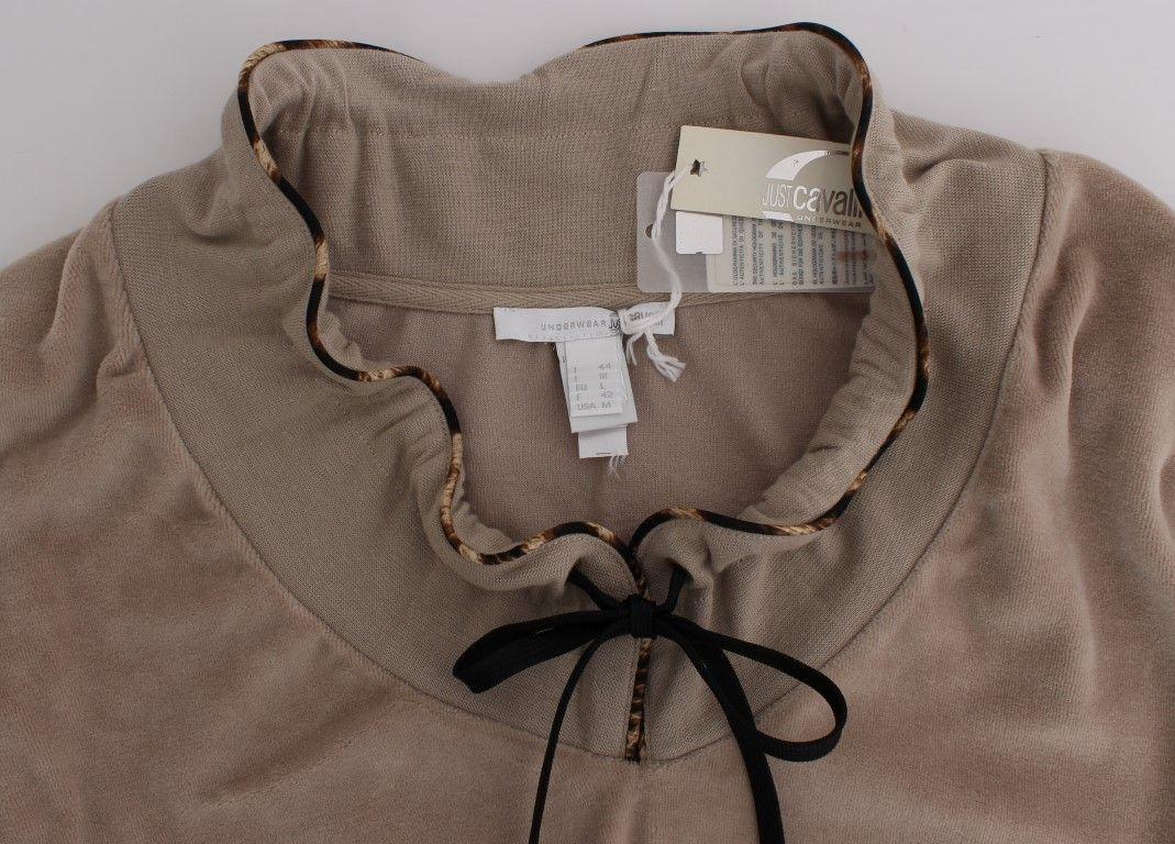 Cavalli Beige Velvet Cotton Sweater