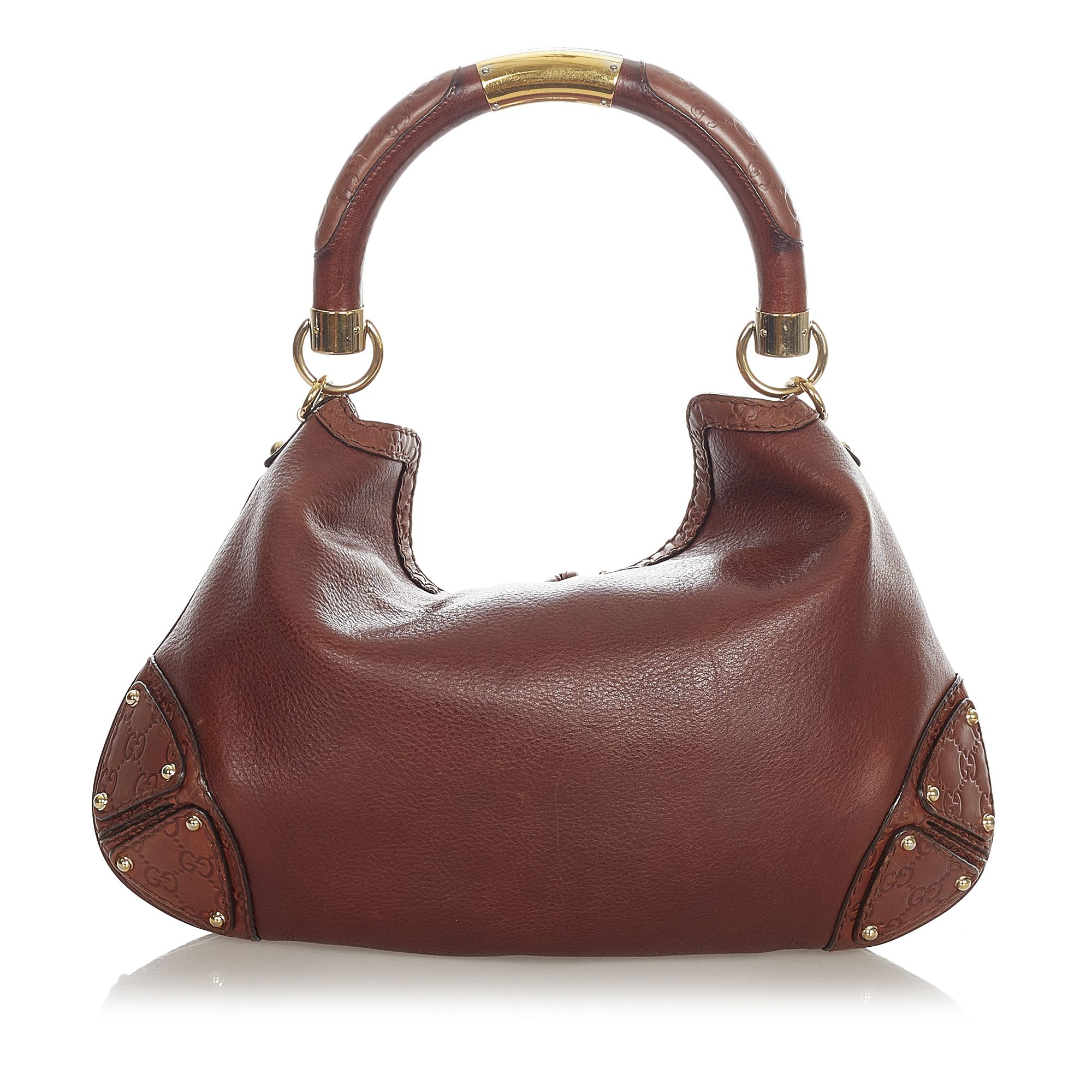 Vintage Gucci Bamboo Indy Leather Satchel Brown