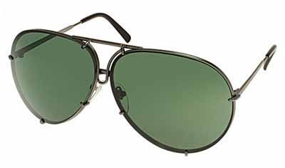 Porsche Avaitor metal Unisex Sunglasses Matte Grey / Green