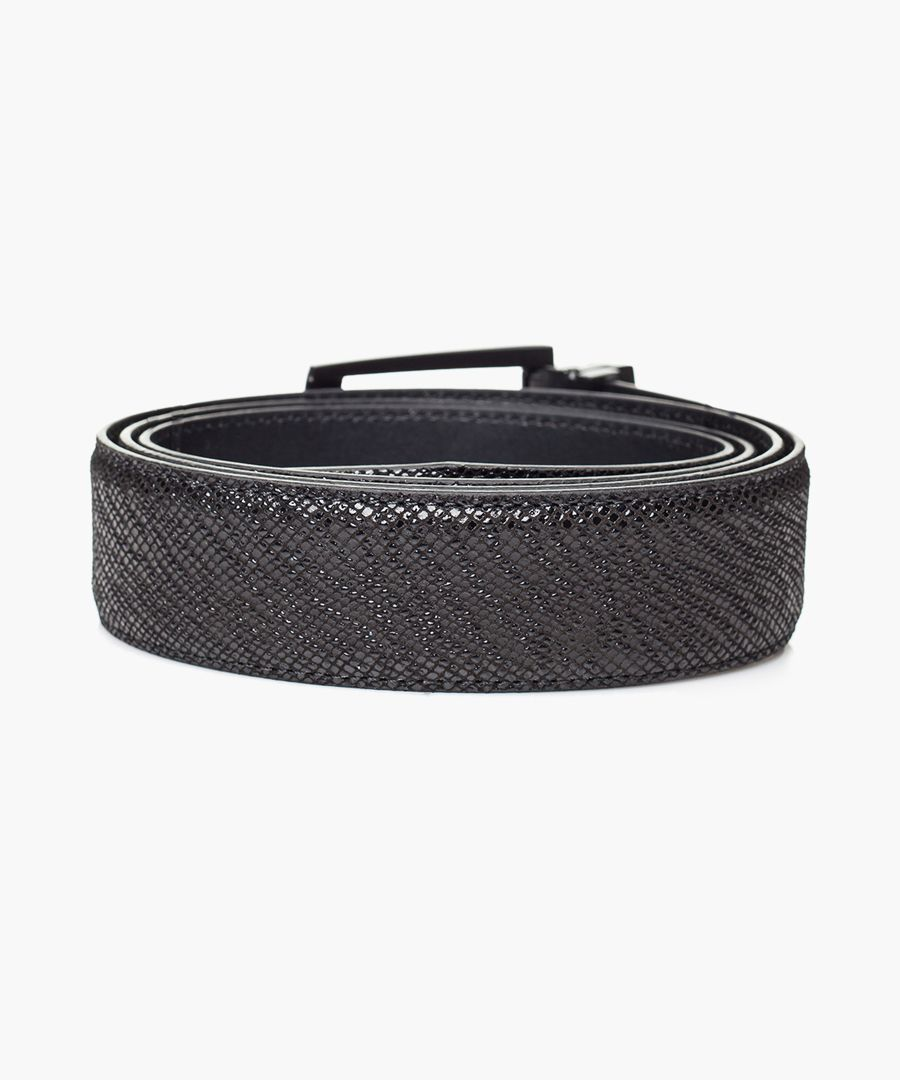 Black leather double face belt