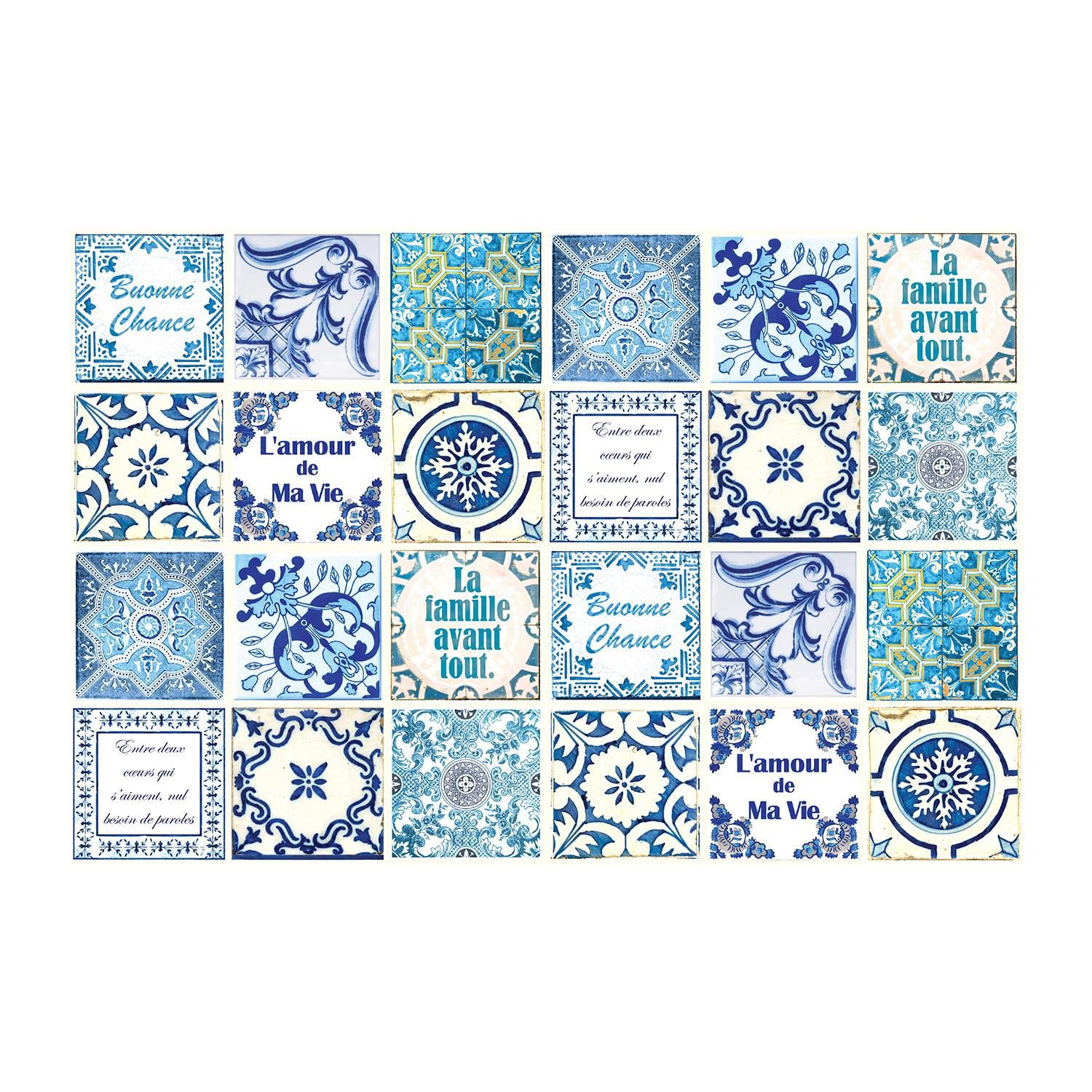 French Quote Classic Blue Tile Sticker - 15 cm x 15 cm - 24 pcs Tiles Wall Stickers, Kitchen, Bathroom, Living room