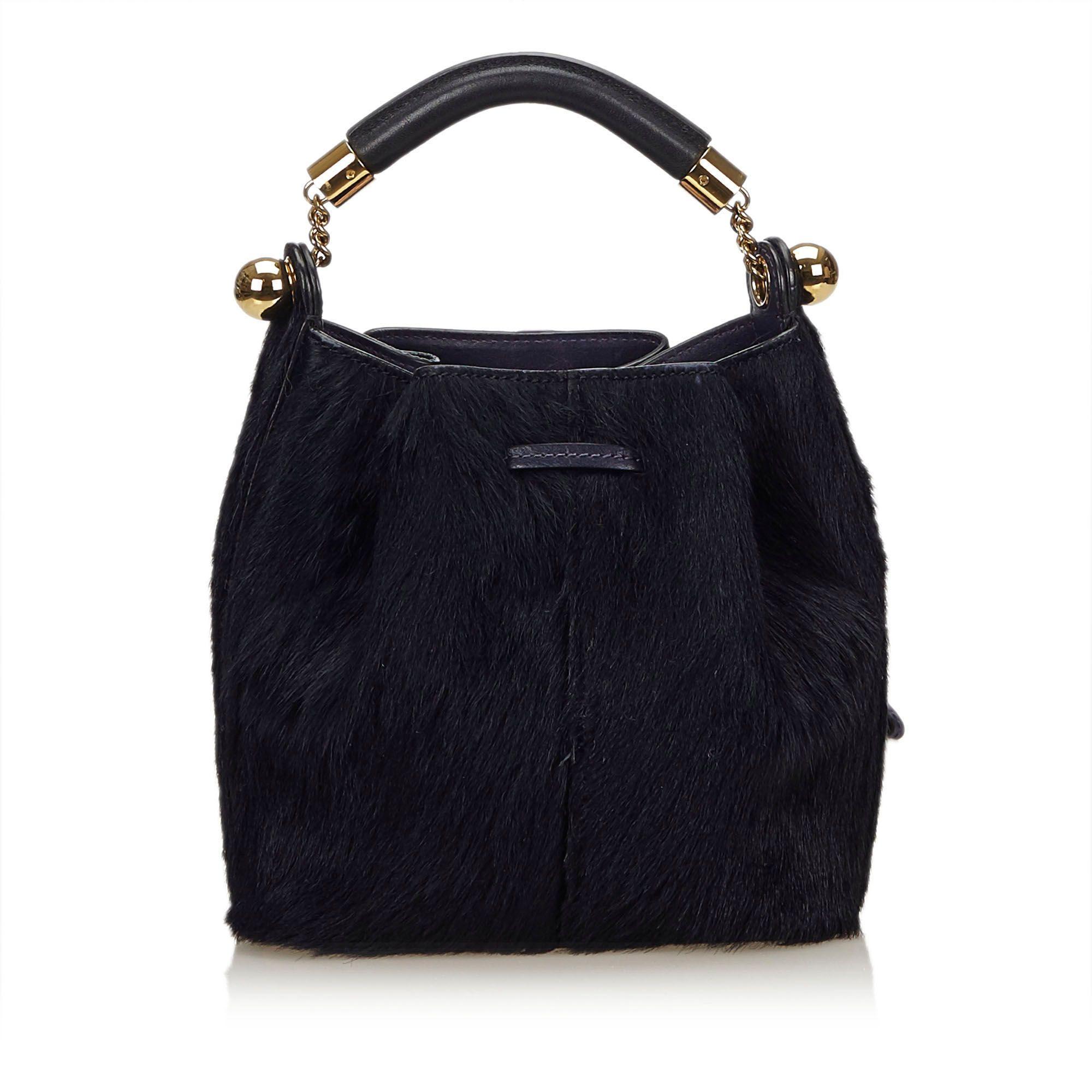 Vintage Chloe Fur Gala Bag Blue