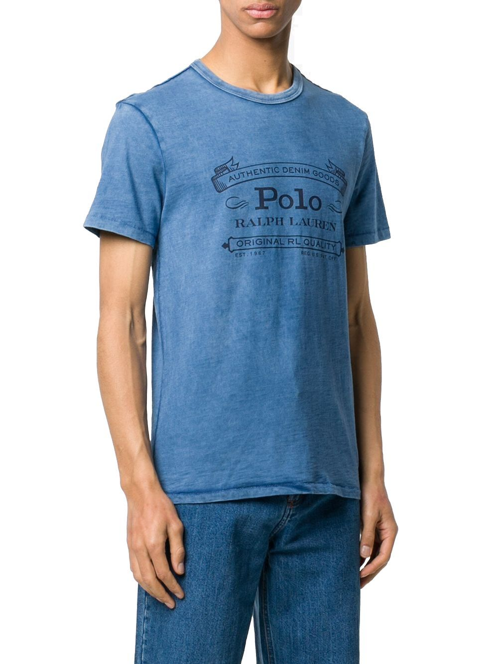 RALPH LAUREN MEN'S 710795143005 BLUE COTTON T-SHIRT