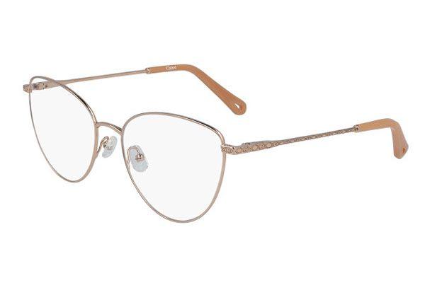 Chloe Rectangular metal Unisex Eyeglasses Copper / Clear Lens
