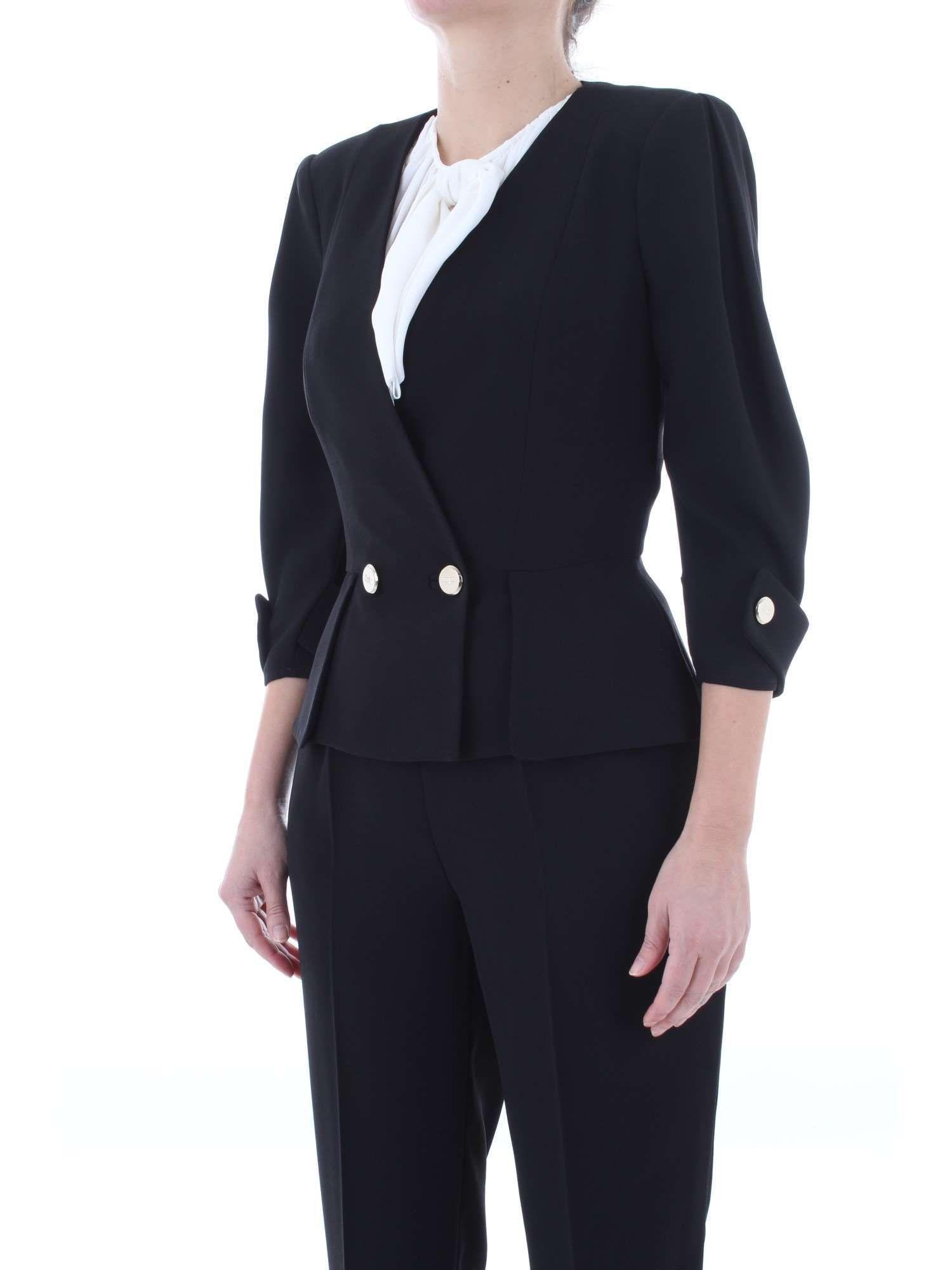 ELISABETTA FRANCHI WOMEN'S GI12591E2110 BLACK POLYESTER BLAZER