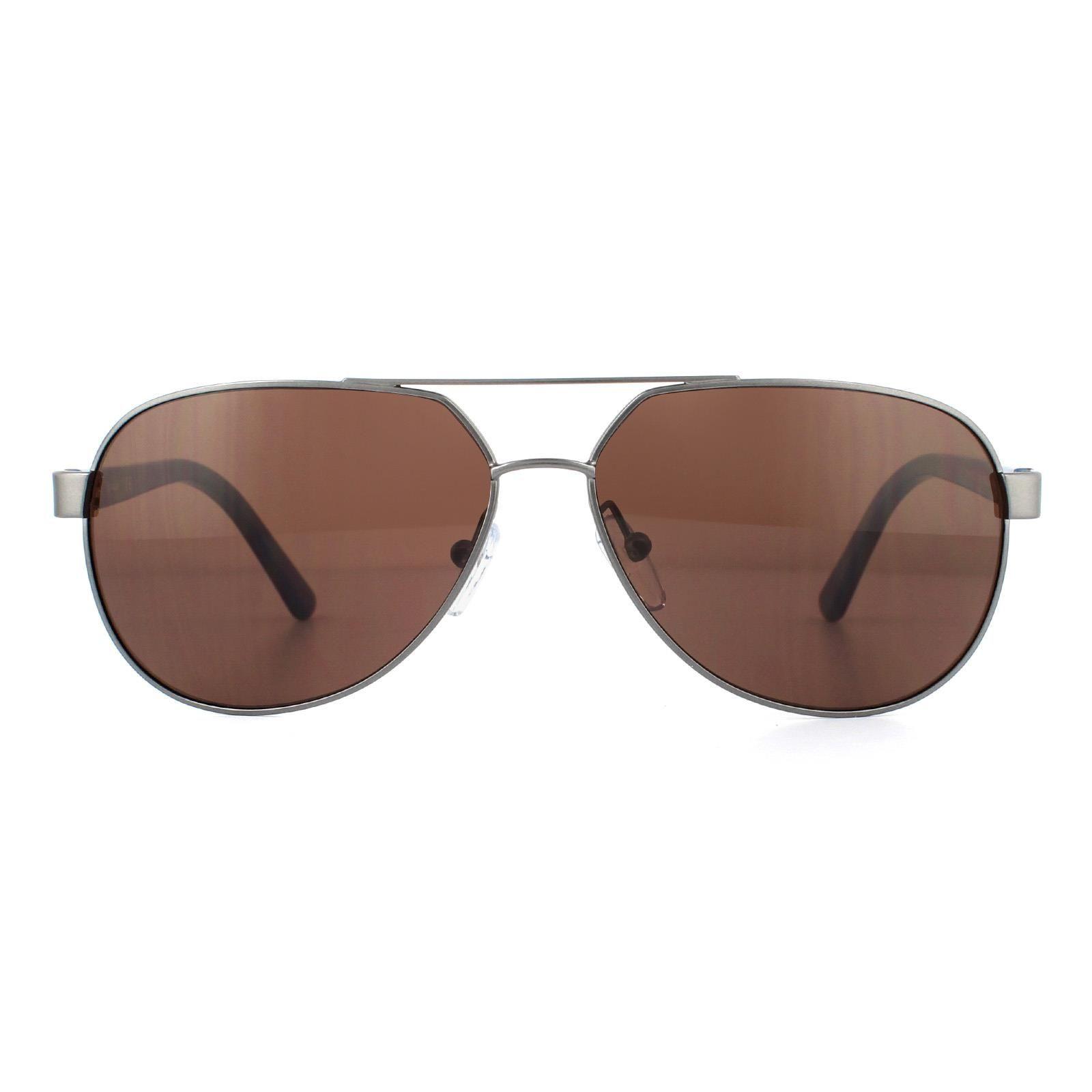 Calvin Klein Sunglasses CK19300S 009 Satin Gunmetal Oxblood Brown