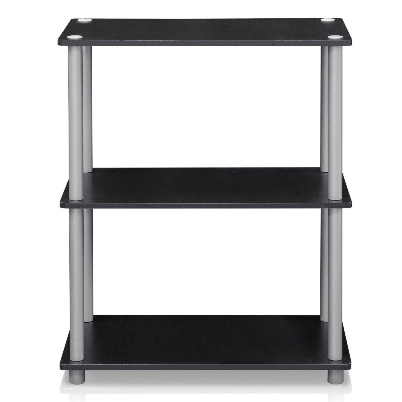 Furinno Turn-N-Tube 3-Tier Compact Multipurpose Shelf Display Rack - Black with Grey Tubes