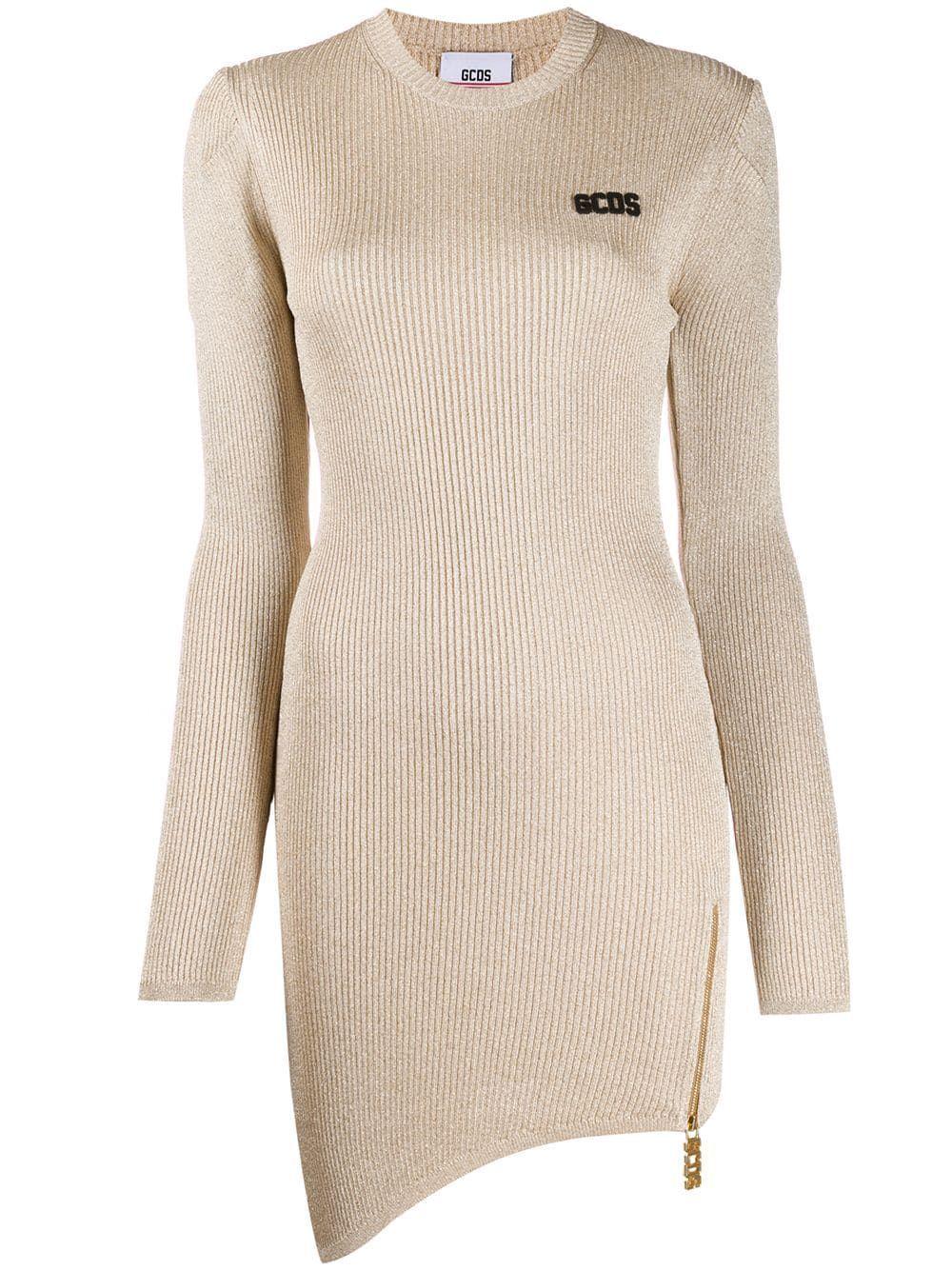 GCDS WOMEN'S FW20W02004816 GOLD VISCOSE DRESS