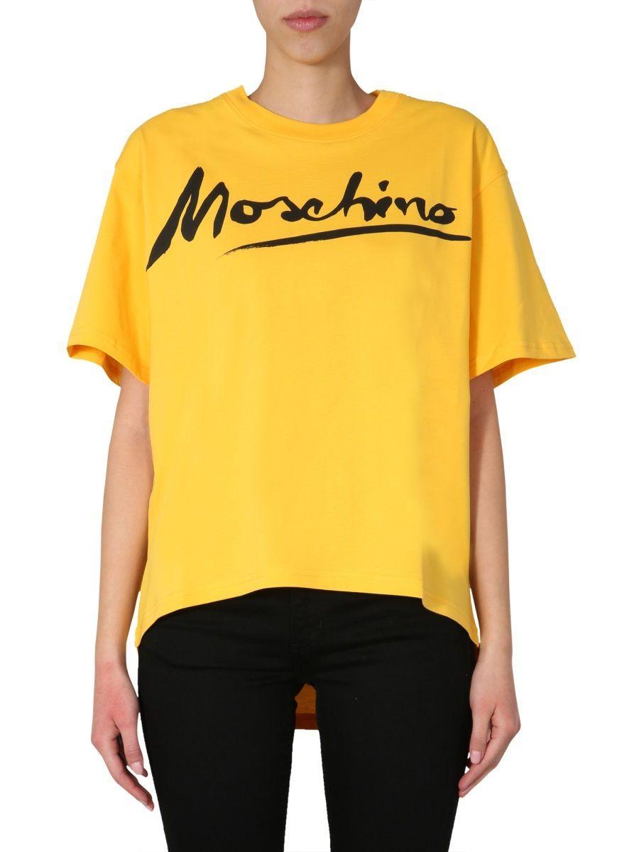 MOSCHINO WOMEN'S A070704401028 YELLOW COTTON T-SHIRT