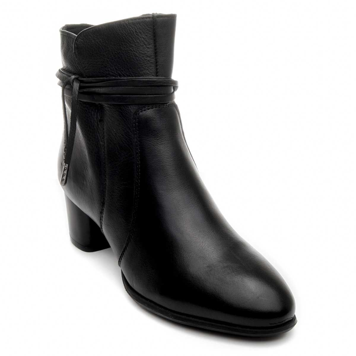 Purapiel Cord Tie Heeled Ankle Boot in Black