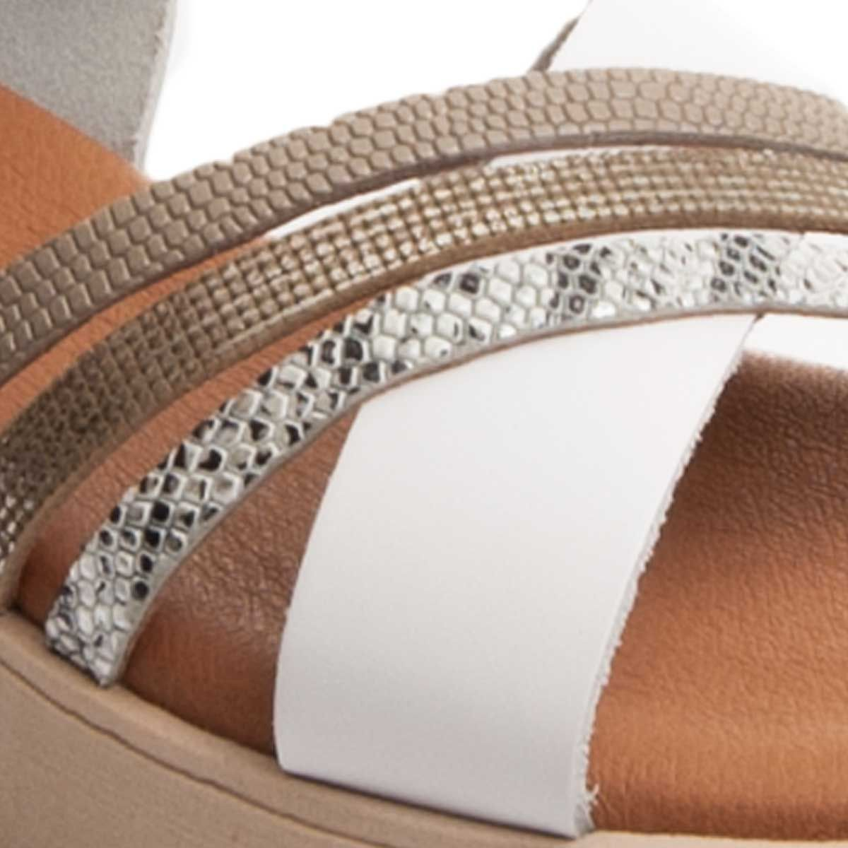 Purapiel Cross Strap Chunky Sandal in White