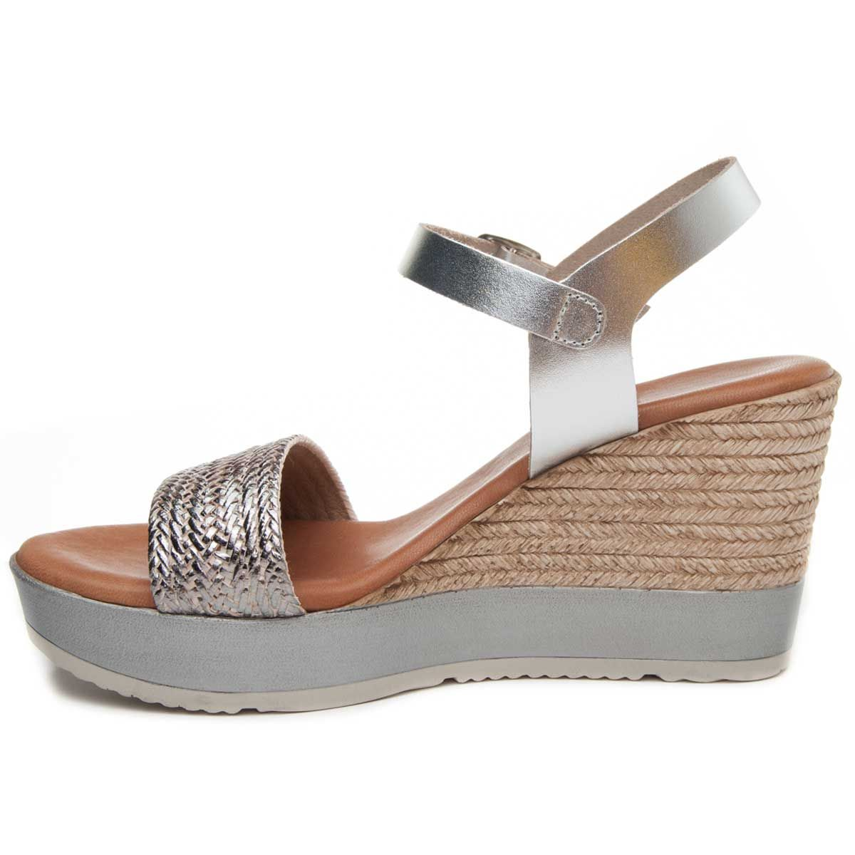 Purapiel Ankle Strap Wedge Espadrille in Silver