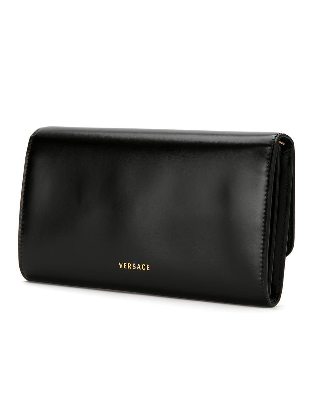 VERSACE WOMEN'S DBSG377DVTH3K41OT BLACK LEATHER POUCH