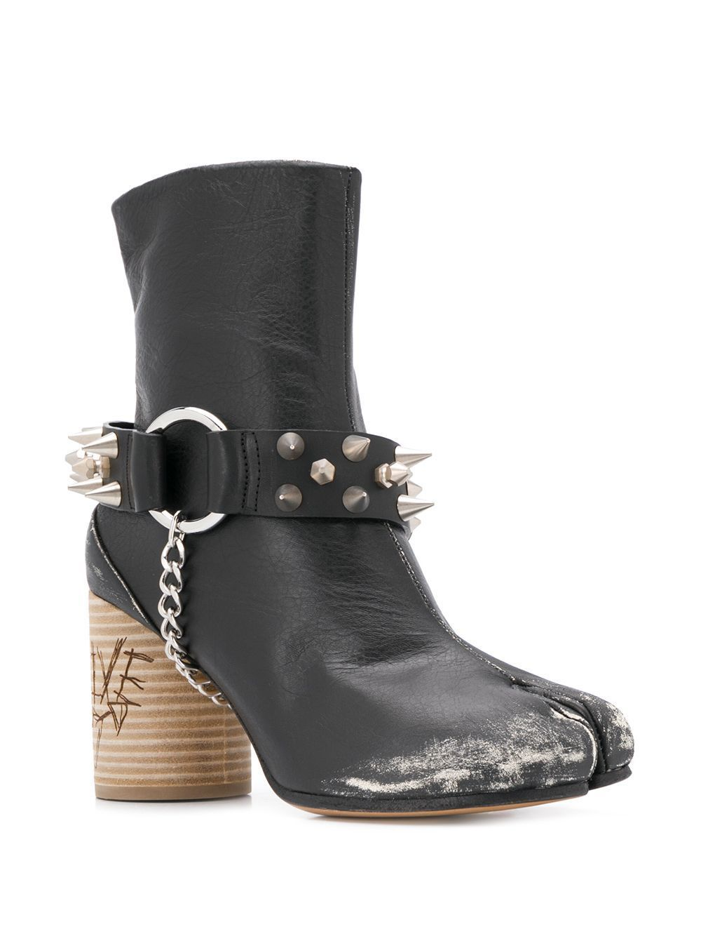 MAISON MARGIELA WOMEN'S S58WU0284P1959T8013 BLACK LEATHER ANKLE BOOTS