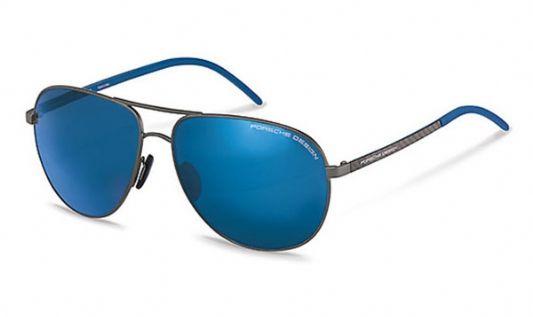 Porsche Avaitor metal Unisex Sunglasses Dark Gunmetal / Blue