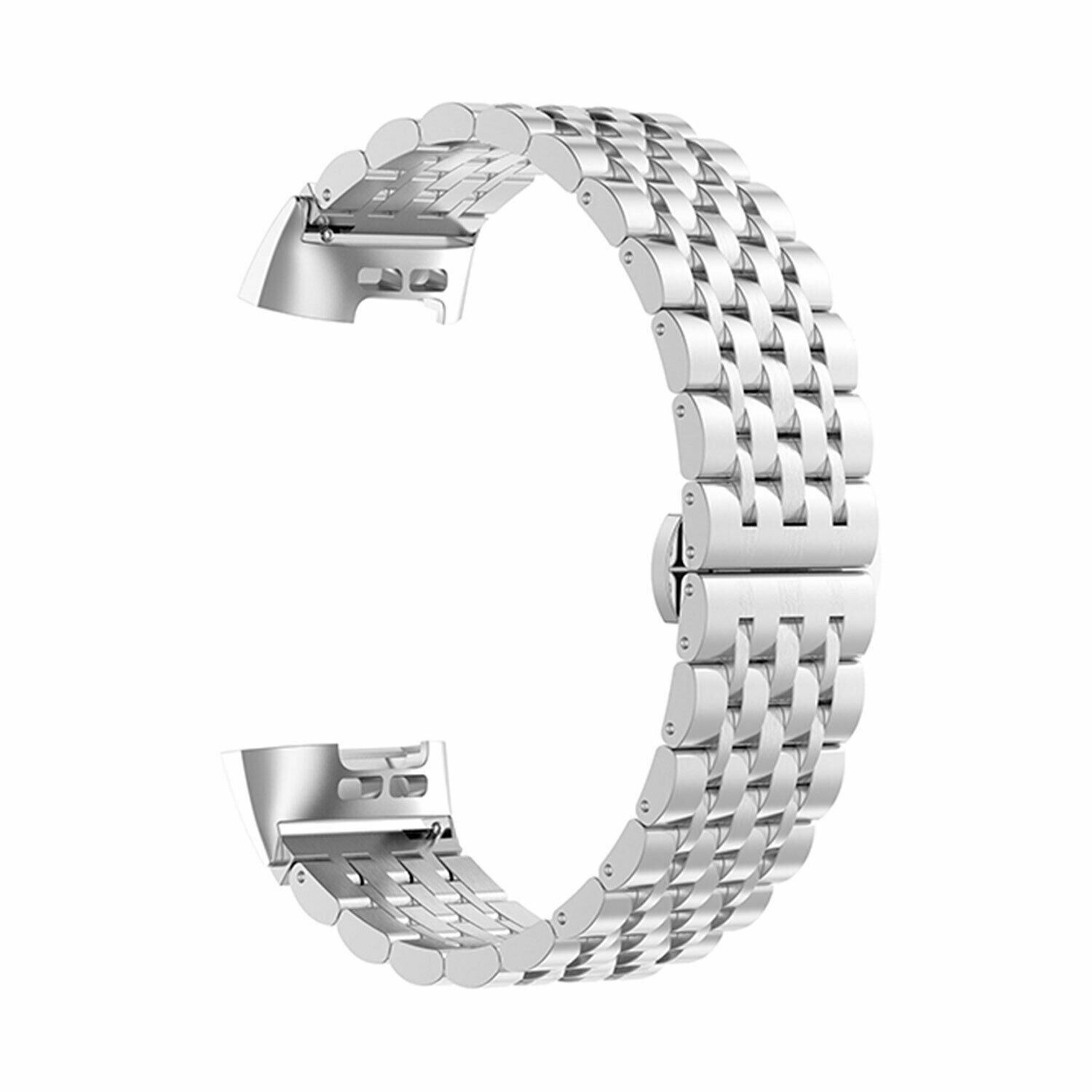 Aquarius Metal Watch Band for Fitbit Charge 3 Silver