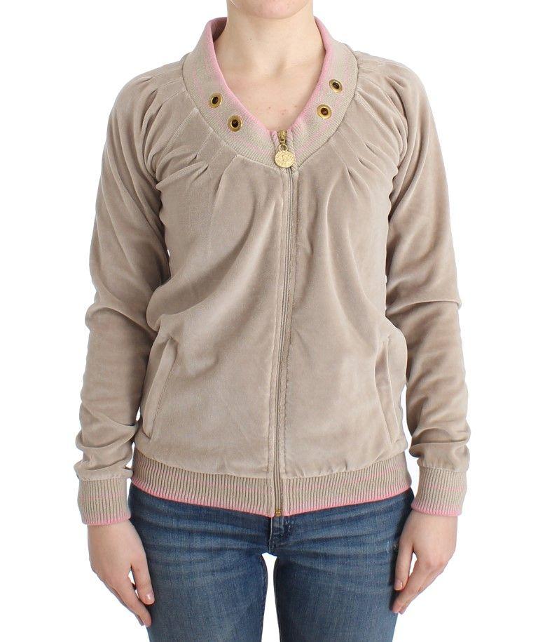 Cavalli Beige velvet zipup sweater