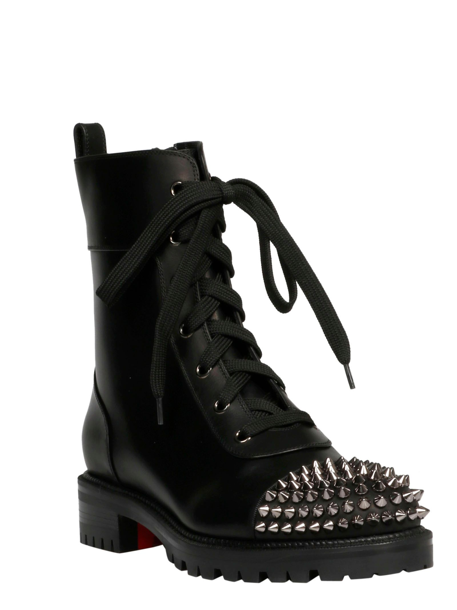 CHRISTIAN LOUBOUTIN WOMEN'S 3190955CM47 BLACK LEATHER ANKLE BOOTS