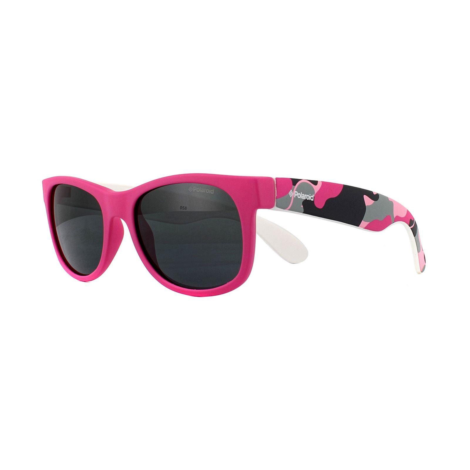 Polaroid Kids Sunglasses P0300 TCS Y2 Pink Camo Grey Polarized
