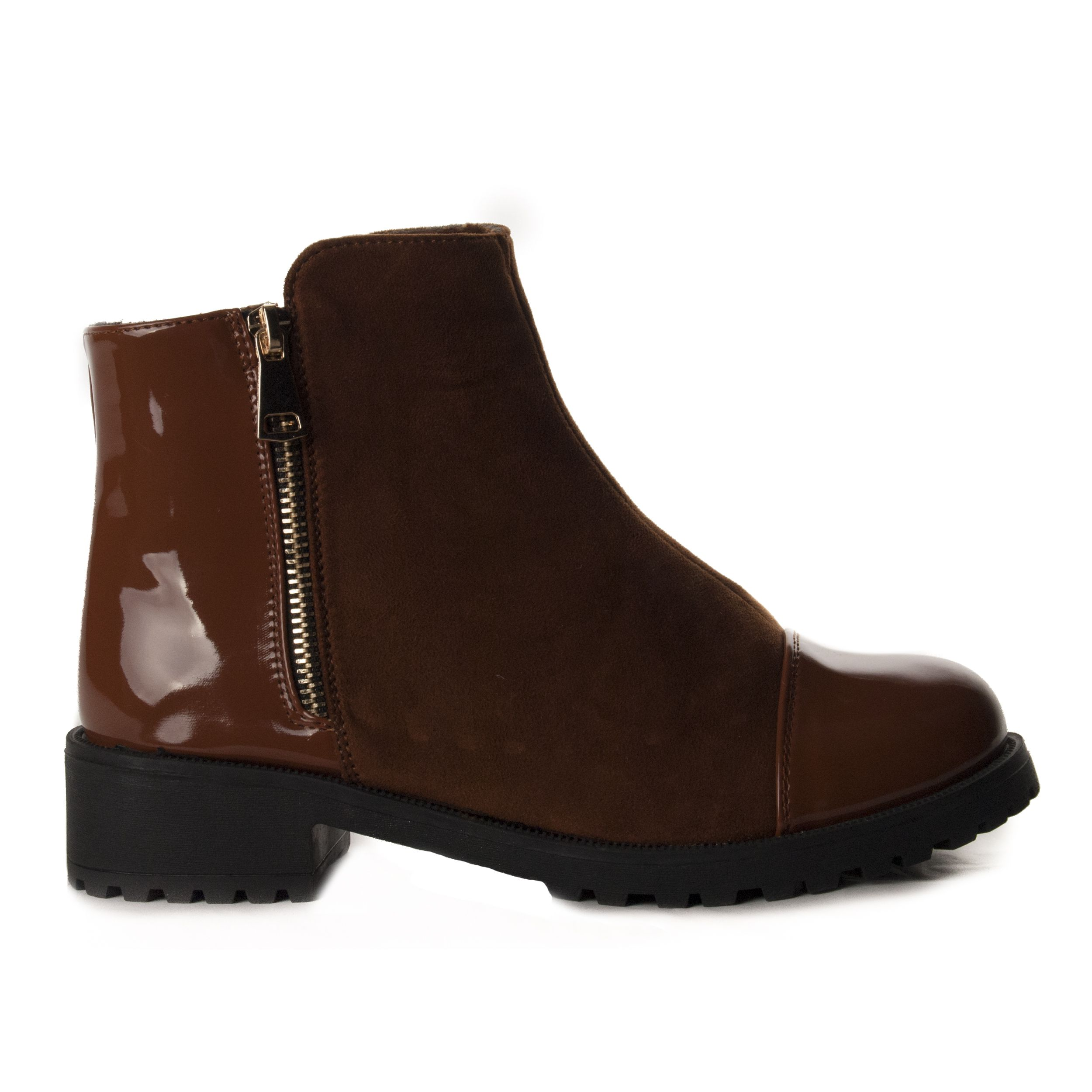 Montevita Patent Ankle Boot in Camel
