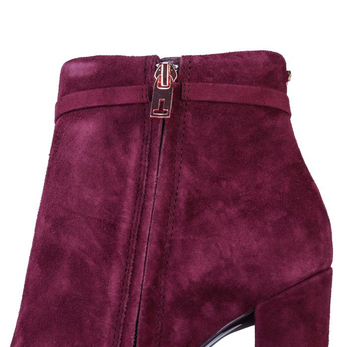 Women's Ted Baker Qatena Suede Ankle Boots in Burgundy
