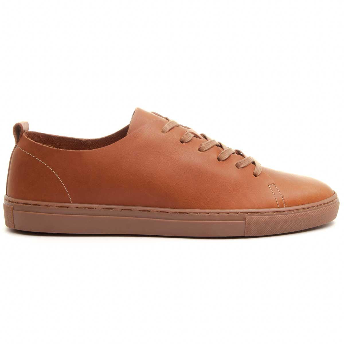 Purapiel Leather Sneaker in Camel