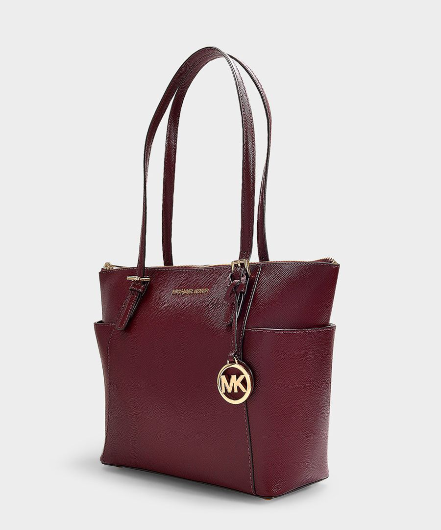 Jet Set burgundy leather shoulder bag