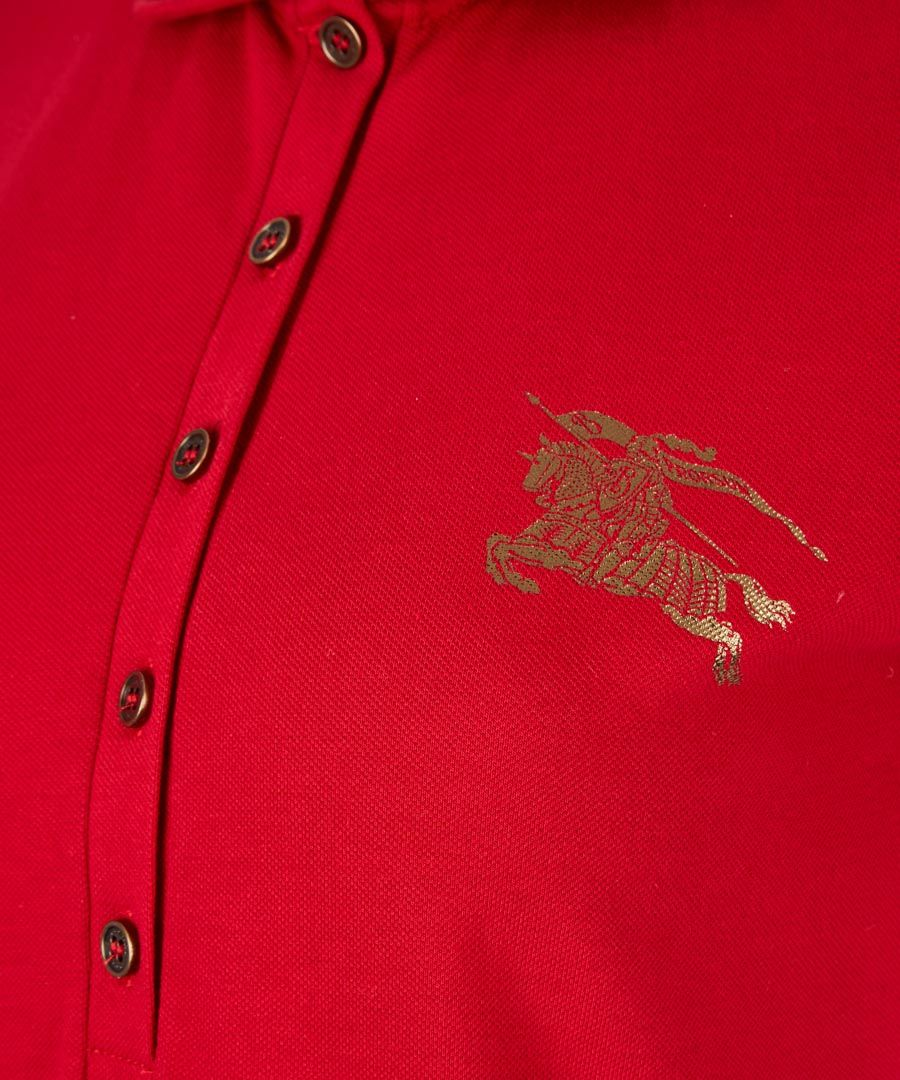 Red cotton polo shirt