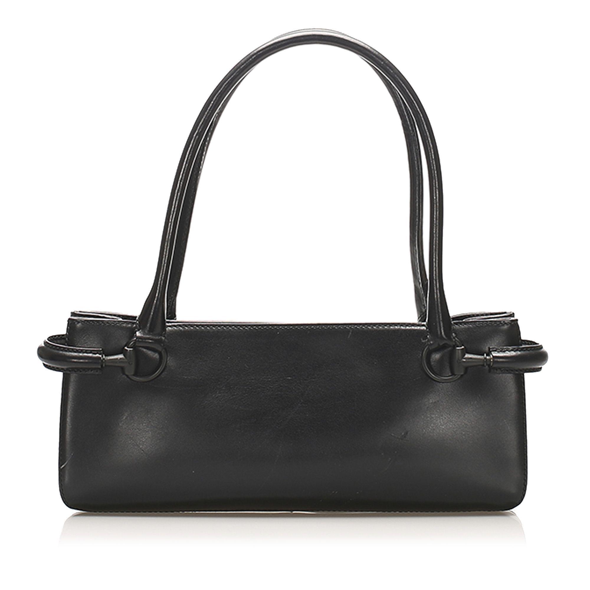 Vintage Gucci Horsebit Leather Shoulder Bag Black