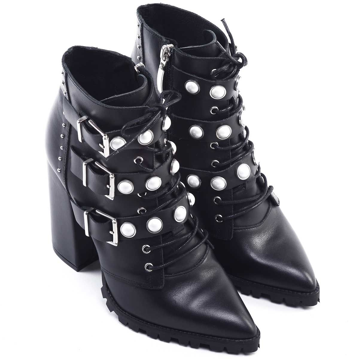 Montevita Buckle Lace Up Ankle Boot in Black