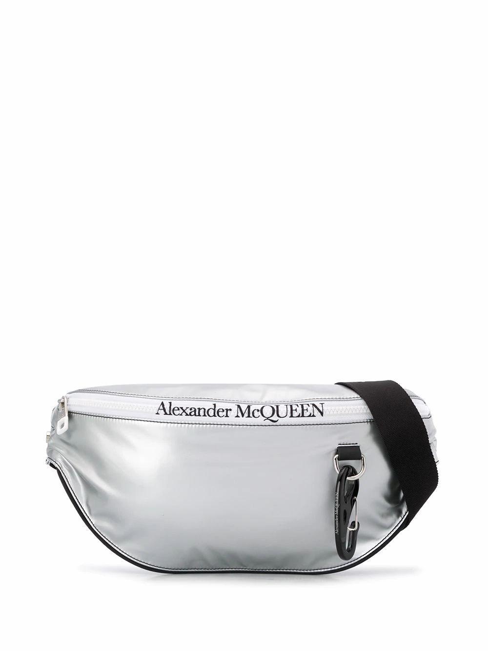 ALEXANDER MCQUEEN MEN'S 605053HUZ1K1464 SILVER POLYURETHANE BELT BAG