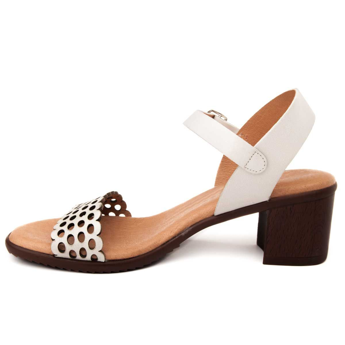 Purapiel Heel Sandal in White