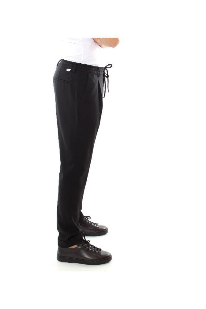 PAOLO PECORA MEN'S B01130119000NERO BLACK WOOL PANTS
