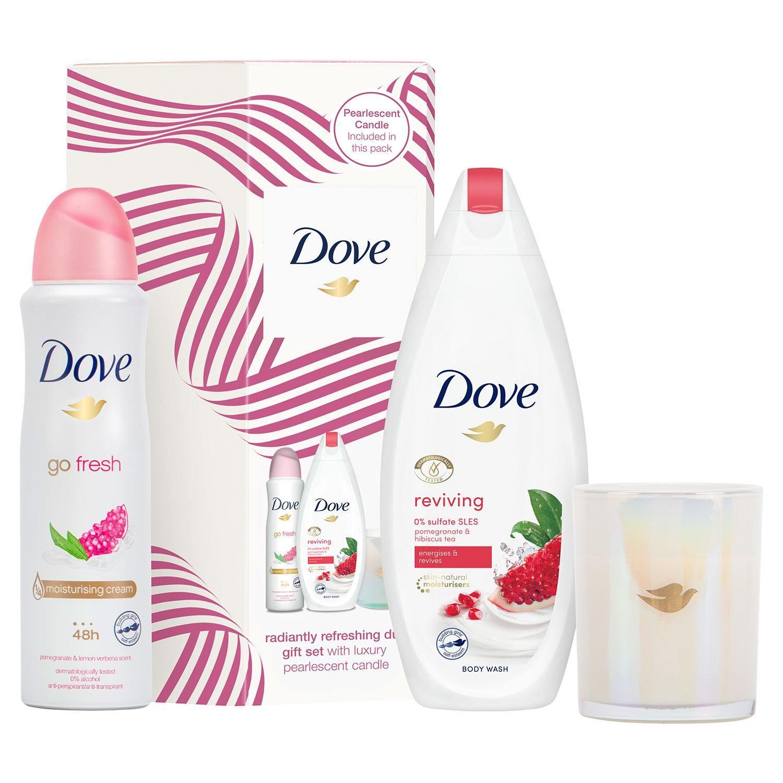 Dove Radiantly Refreshing Duo Gift Set With Luxury Candle