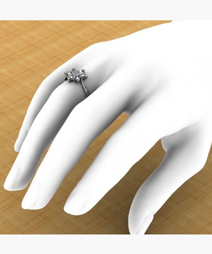 9k white gold and silver snowflake diamond ring