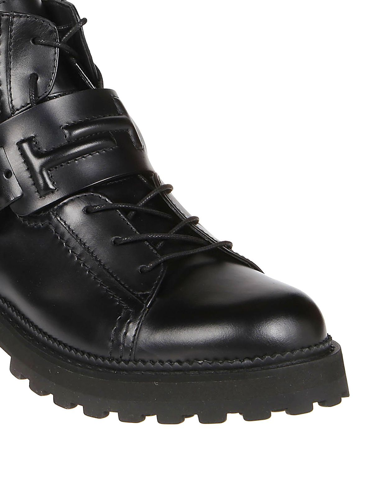 TOD'S WOMEN'S XXW95B0BX50NB6B999 BLACK LEATHER ANKLE BOOTS