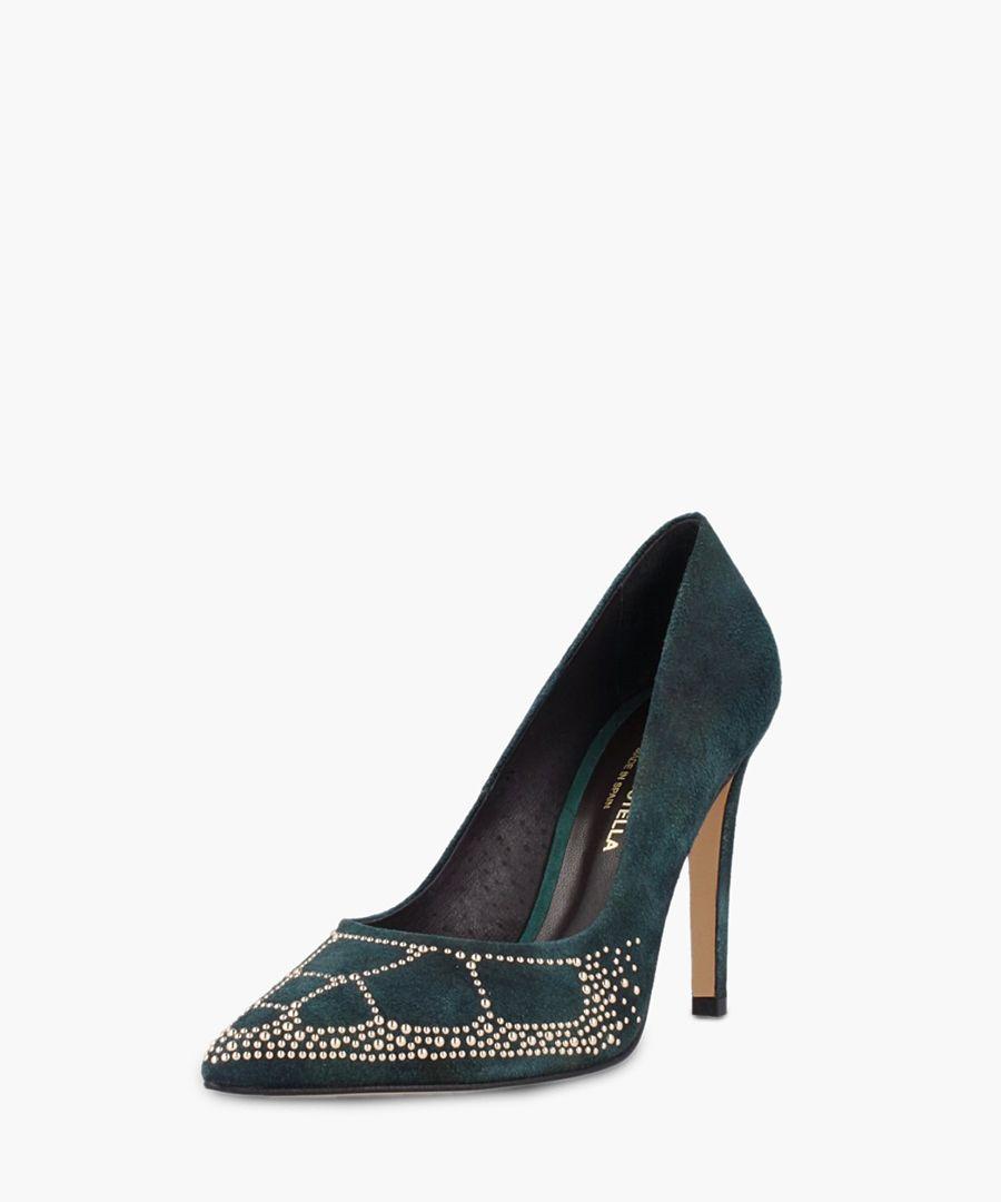 Green embellished heels