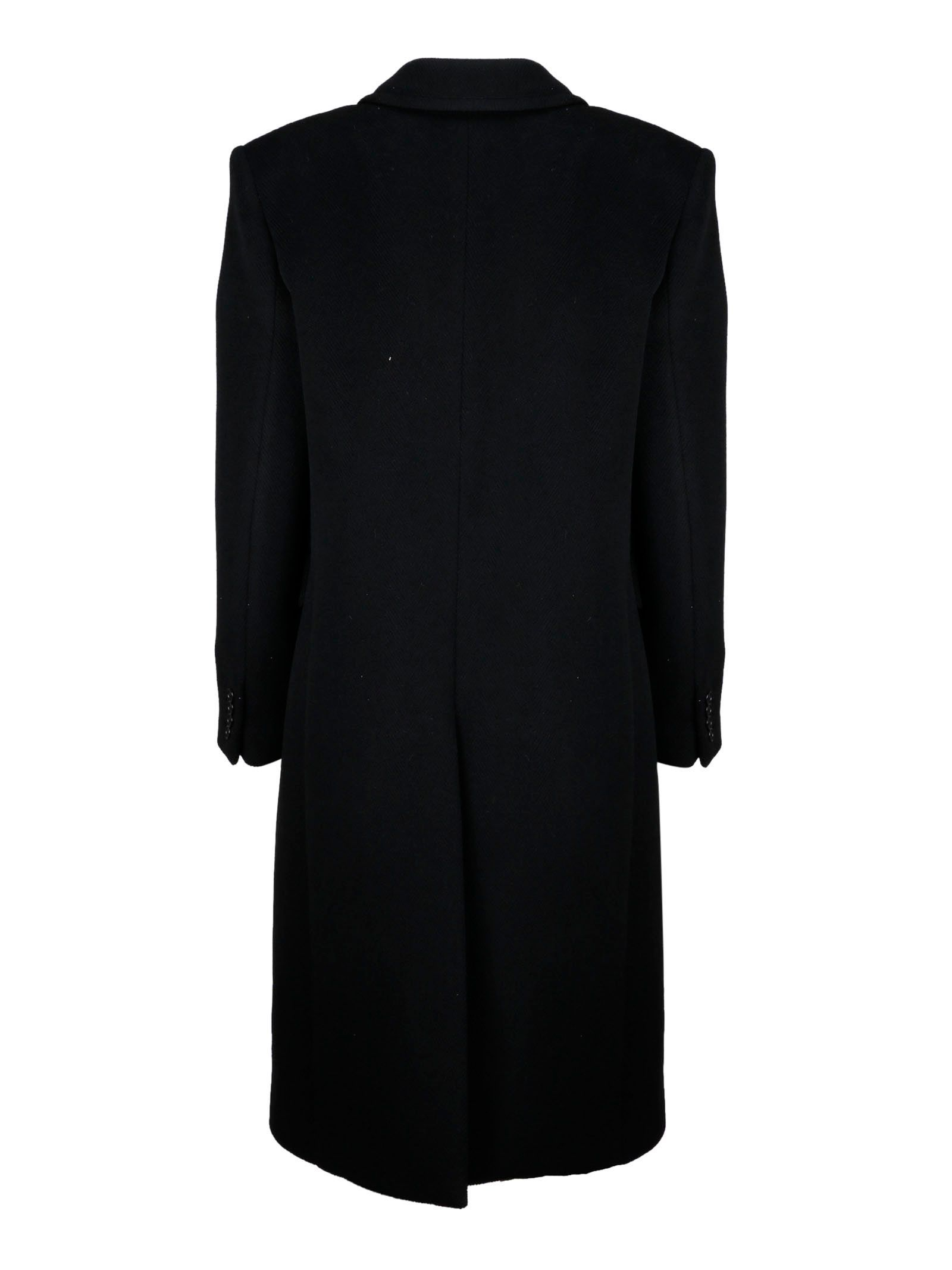 SAINT LAURENT WOMEN'S 588359Y632N1000 BLACK WOOL COAT