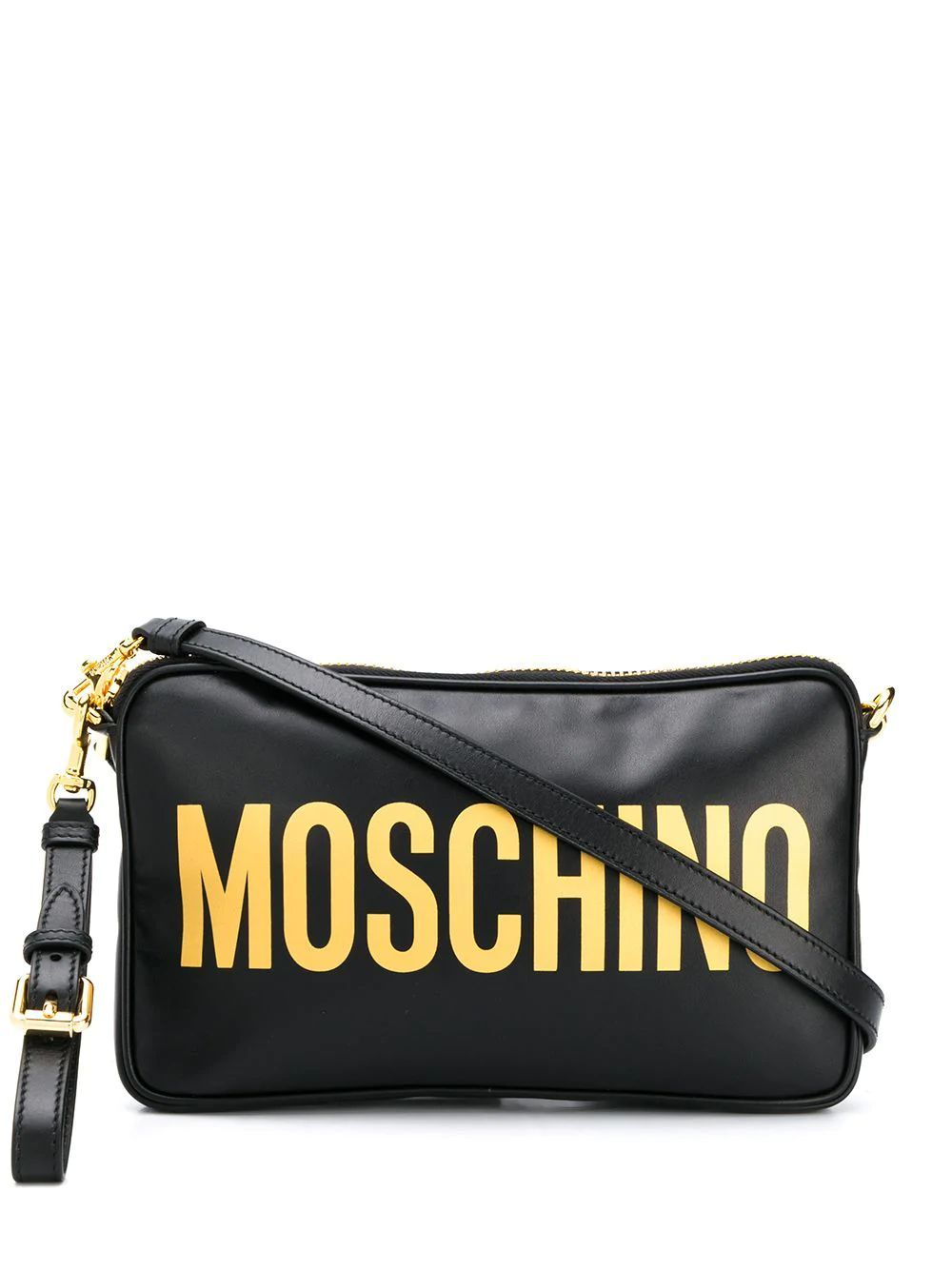 MOSCHINO WOMEN'S A741780012555 BLACK LEATHER SHOULDER BAG