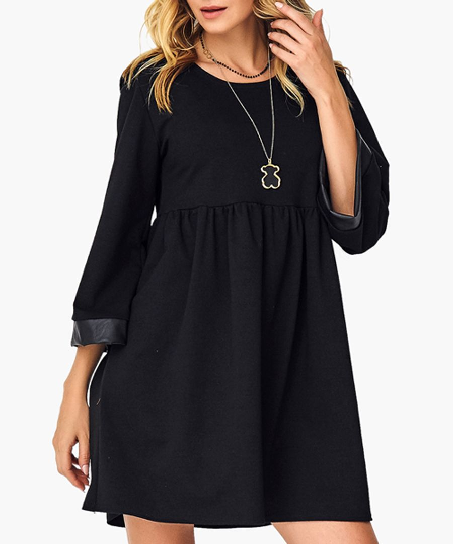 Black and camel cotton blend dress