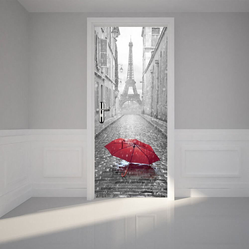 Eiffel Tower Door Mural Office Decor Home Decoration Stickers Europe Size 88cm Self Adhesive stickers