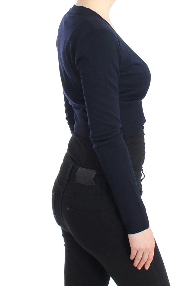Cavalli Blue cropped wool cardigan