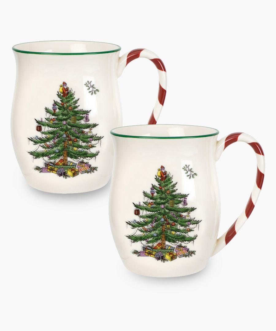 2pc Peppermint handle festive printed mug set