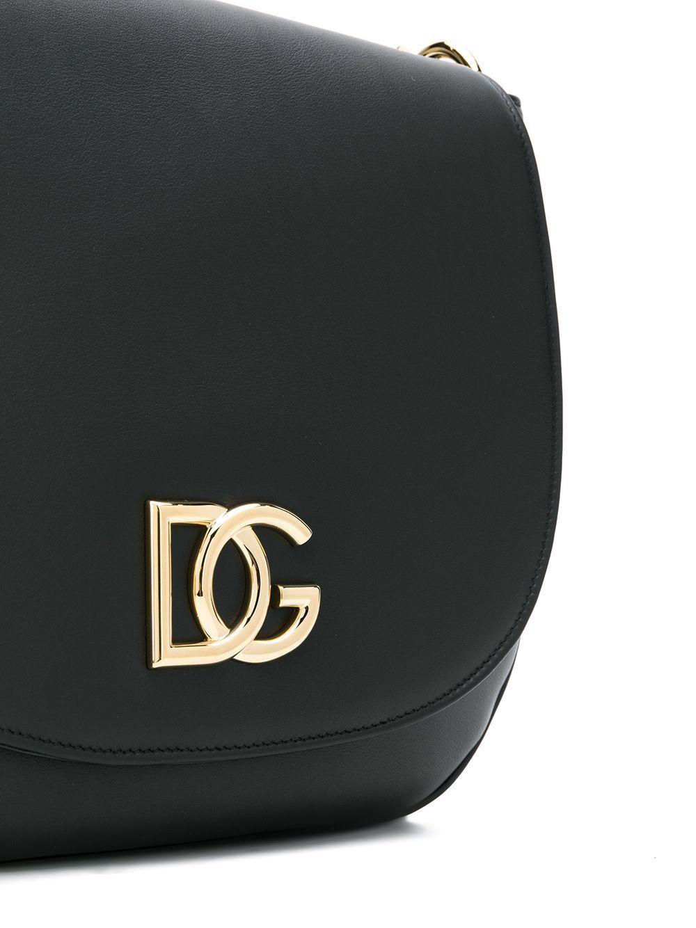 DOLCE E GABBANA WOMEN'S BB6819AX44180999 BLACK LEATHER SHOULDER BAG