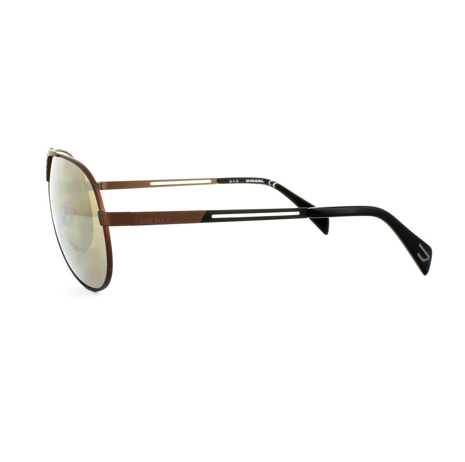 Diesel Sunglasses DL0134 36L Shiny Dark Bronze Roviex Brown Mirror