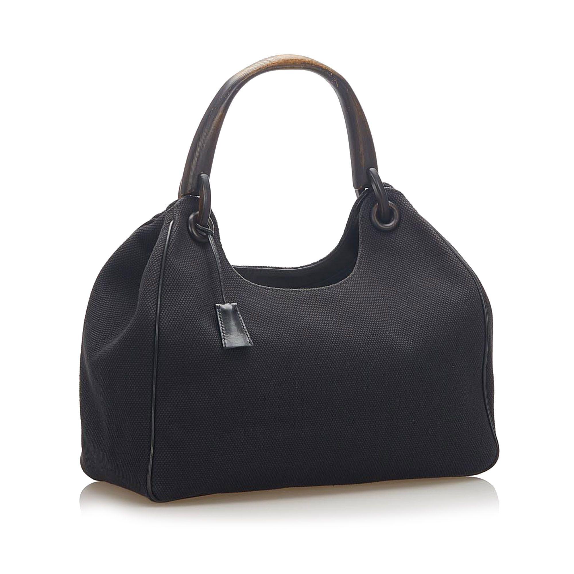 Vintage Gucci Canvas Handbag Black