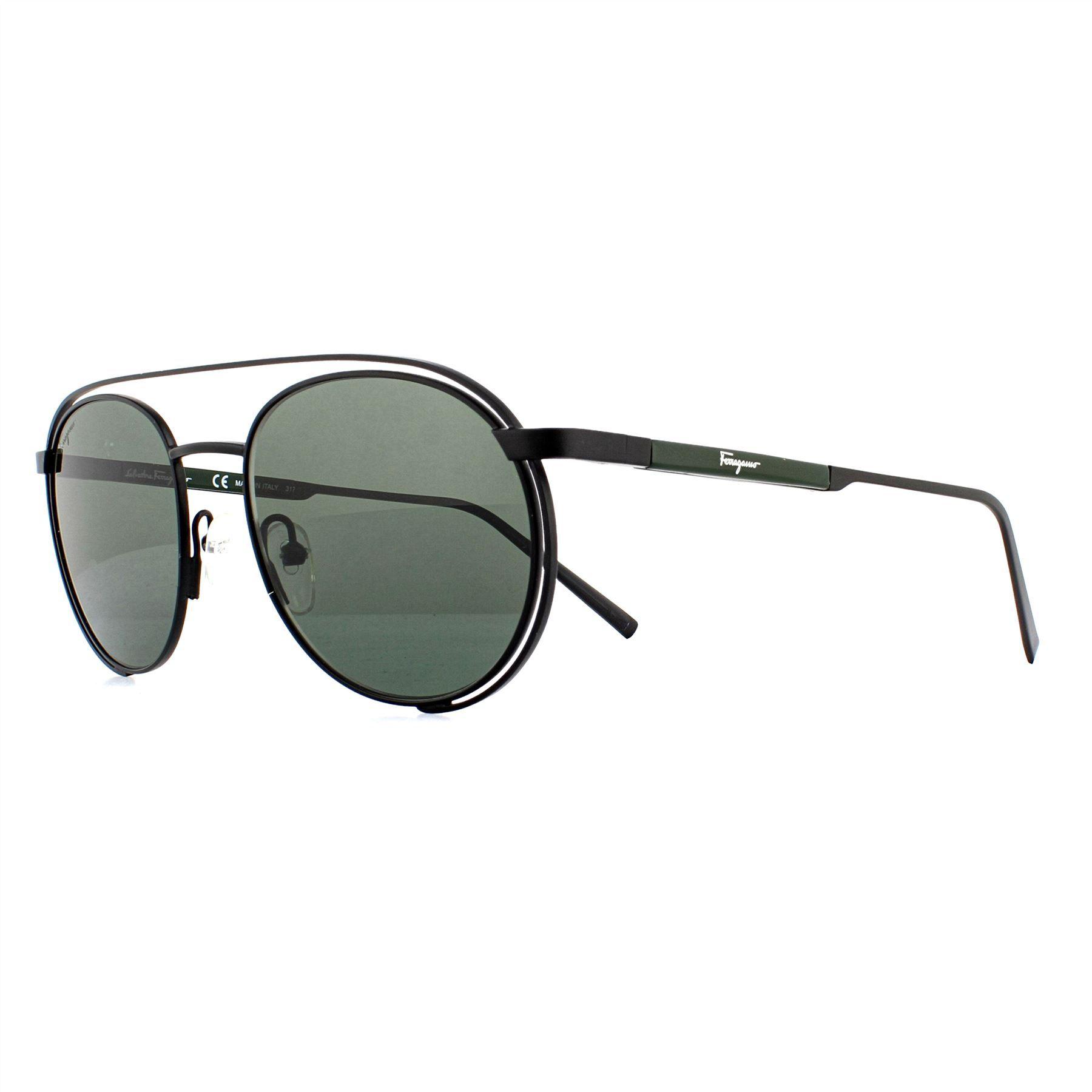 Salvatore Ferragamo Sunglasses SF169S 002 Matte Black Dark Grey Green
